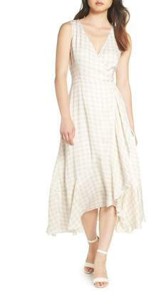 Charles Henry Sleeveless Gingham Wrap Dress (Regular & Petite)