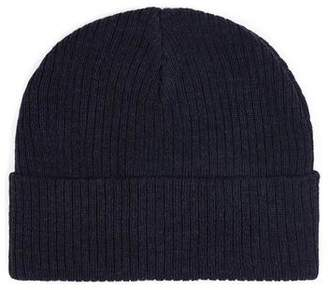 Topman Mens Blue Denim Ribbed Beanie