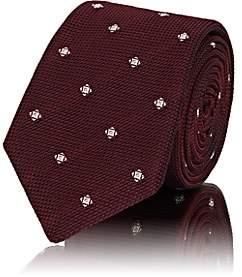 Barneys New York Men's Diamond-Dot Waffle-Textured Silk Necktie - Red