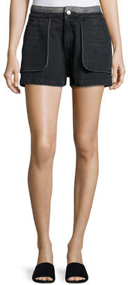 Opening Ceremony Cotton Denim Inside-Out Shorts, Black