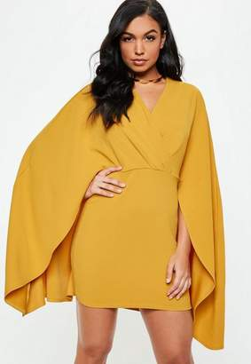 Missguided Mustard Plunge Cape Dress