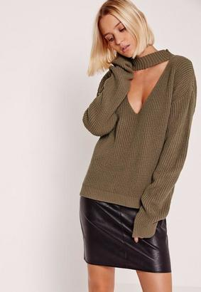 Brown V-Neck Line Choker Sweater $36 thestylecure.com