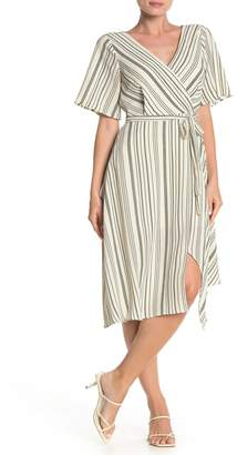 Rowa ROW A Kimono Sleeve Stripe Print Midi Dress