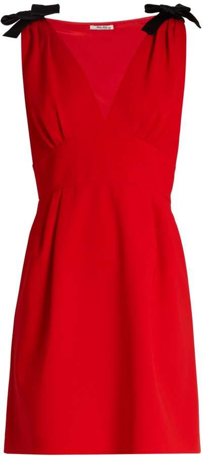 Miu MiuMIU MIU Deep V-neck sleeveless cady mini dress
