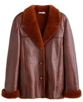 MANGO Sheepskin-lined leather jacket