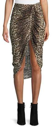 Veronica Beard Ari Ruched Leopard-Print High-Low Skirt