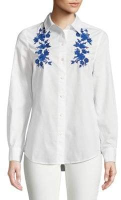 Lord & Taylor Petite Embroidered Cotton Button-Down Shirt
