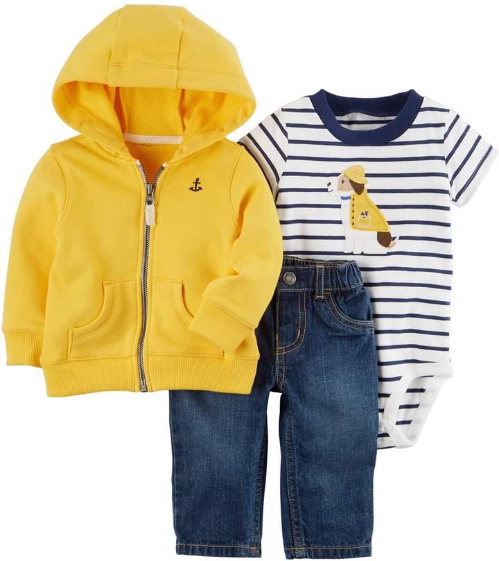 Baby Boy Zip-Up Hoodie, Dog Applique Bodysuit & Jeans Set