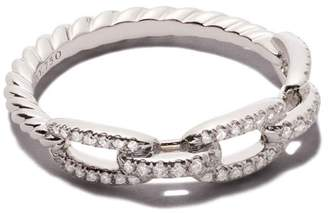 David Yurman 18kt white gold Stax single row pavé diamond chain link ring