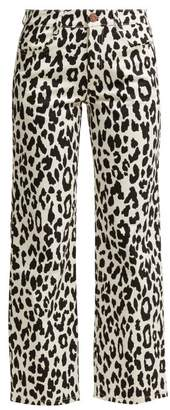See by Chloe Kick Flare Leopard Print Jeans - Womens - Black White