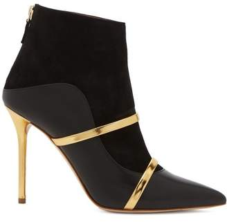 Malone Souliers Madison Leather And Suede Ankle Boots - Womens - Black Gold