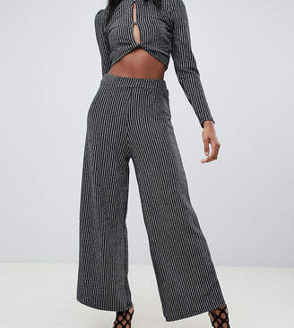 Fashion Union Tall wide leg shimmer pants two-piece