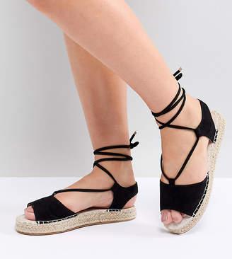 Asos DESIGN JUMP ON Tie Leg Espadrille Sandals
