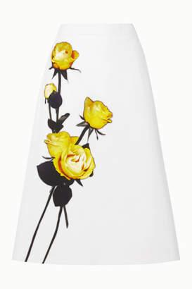 Prada Floral-print Cotton-poplin Midi Skirt - White