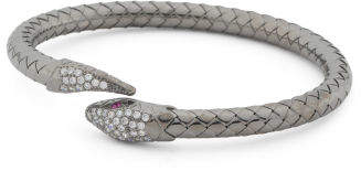 Made In Italy Plated Sterling Silver Cz Snake Cuff Bracelet