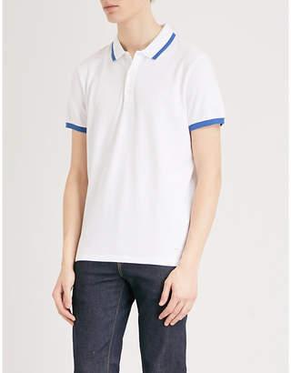 BOSS ORANGE Striped-trim cotton-piqué polo shirt