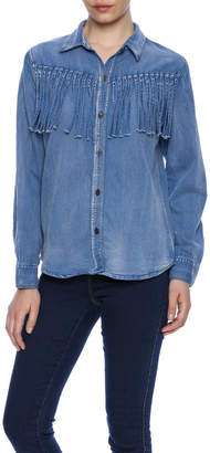 POL Fringe Denim Shirt