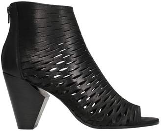 Strategia Open Toe Black Leather Ankle Boots