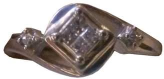 Sterling Silver & Princess Cut Diamond Engagement Ring