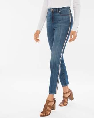 So Slimming Side-Embellished Girlfriend Ankle Jeans