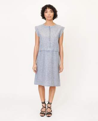 Beaumont Organic Navy Speckle Adele Jane Hemp Chambray Dress - Navy Speckle / Large - Blue
