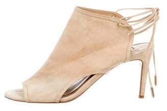 Aquazzura Suede Peep-Toe Sandals Beige Suede Peep-Toe Sandals
