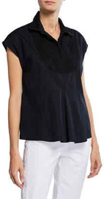 Piazza Sempione Cap-Sleeve Lace Yoke T-Shirt