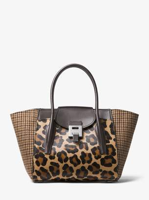 Michael Kors Bancroft Medium Leopard and Houndstooth Satchel
