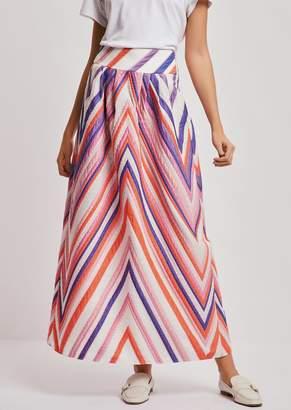 Emporio Armani Maxi Skirt In Jacquard Fabric With Macro Chevrons