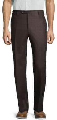 Zanella Textured Windowpane Wool Blend Pants