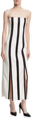 Diane von Furstenberg Strapless Striped Structured Midi Dress