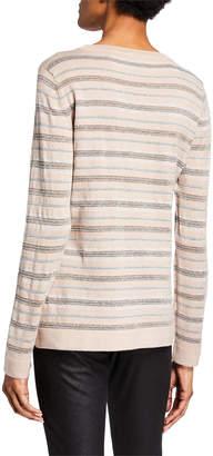 Donna Karan Metallic Striped Long-Sleeve Top