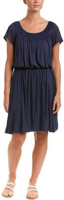 Three Dots Smocked Neck Blouson Dress