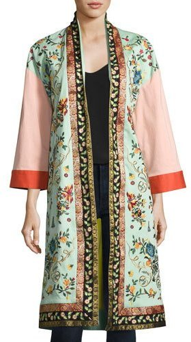 Alice + Olivia Alice + Olivia Amelia Oversized Embroidered Coat, Multi