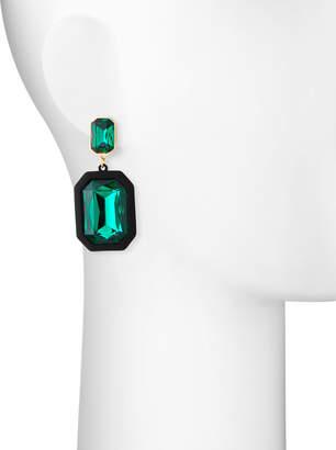 Fragments for Neiman Marcus Rectangular Crystal Drop Earrings, Emerald