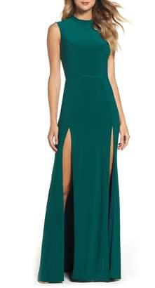 Mac Duggal IEENA FOR Jersey Double Slit Gown