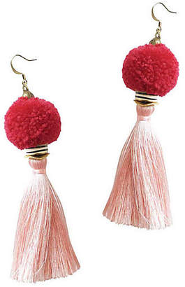 Gaia Tassel Pom-Pom Drop Earrings - Rose