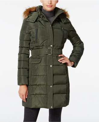 Tommy Hilfiger Faux-Fur-Trim Hooded Belted Puffer Coat $245 thestylecure.com