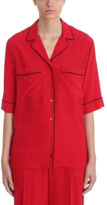 Stella McCartney Piped-trim Red Silk-crepe Shirt