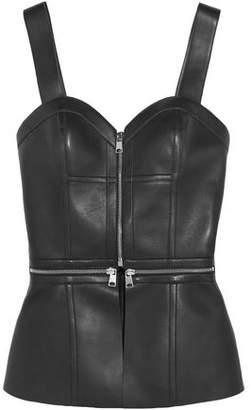 Alexander McQueen Zip-embellished Leather Bustier Top