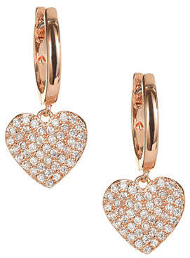 Kate Spade Yours Truly Rose Gold Pave Heart Drop Earrings