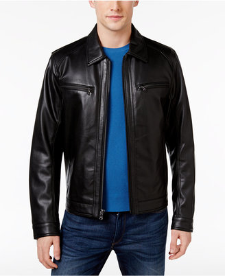 Michael Kors Men's Faux-Leather Moto Jacket $225 thestylecure.com
