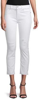 Vigoss Women's Frayed Cropped Jeans - White, Size 30 (9-10)