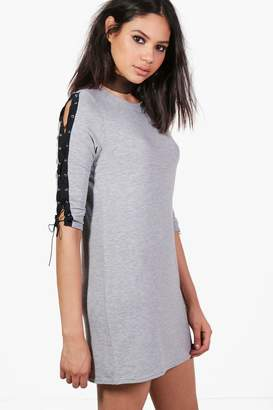 boohoo Arm Lace Up Detail Shift Dress