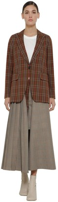 MM6 MAISON MARGIELA CHECK WOOL BLEND JACKET W/PLEATED PANEL