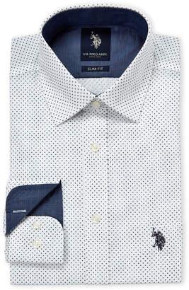 U.S. Polo Assn. White & Navy Dot Slim Fit Dress Shirt