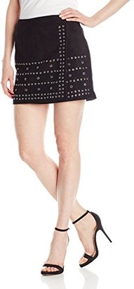Buffalo David Bitton Women's Charley Faux Suede Skirt with Grommets $69 thestylecure.com