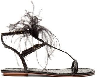 Aquazzura Ponza Feather Embellished Leather Sandals - Womens - Black