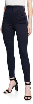 Karen Millen Button-Trim Leggings