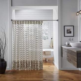 Ashton & Willow Creme Black Farmhouse Bath Elysee Rod Pocket Cotton Button Holes for Shower Hooks Fleur-De-Lis Shower Curtain